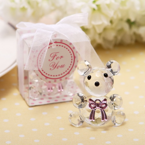 Event & Party 50pcs Crystal Teddy Bear With Pink And Blue Box For Wedding Favors Baby Shower Gift Souvenirs