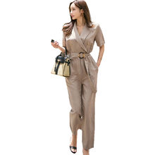 f4b605d0598 New Fashion Notched Collar Office Blazer Jumpsuits Women Short Sleeve Double -Breasted Pocket Belt Knot Jumpsuits Female Overalls
