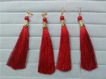 Moda roja larga borla pendientes del encanto de las mujeres pendientes de viento nacional retro accesorios de vestir trajes ropa accesorios