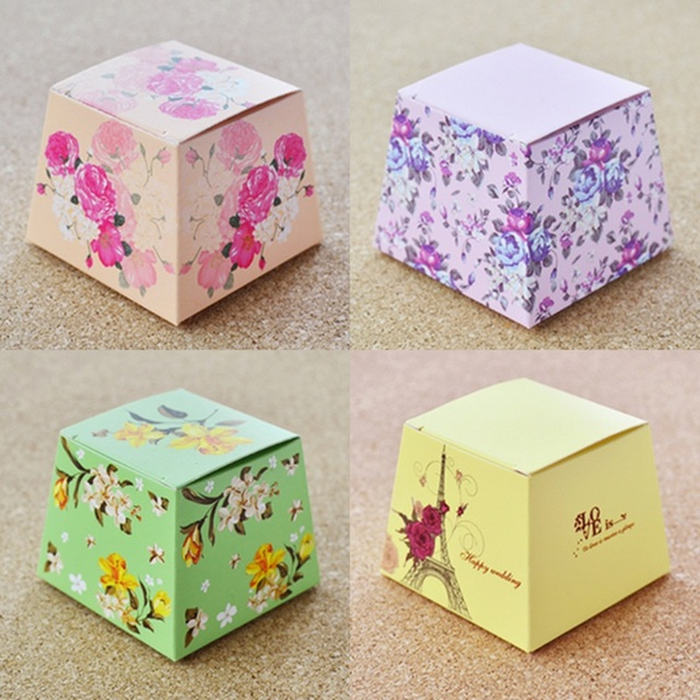 100pcs New Wedding Favors Bo Supplies Yellow Pink Purple Green Trapezoid Fl Candy