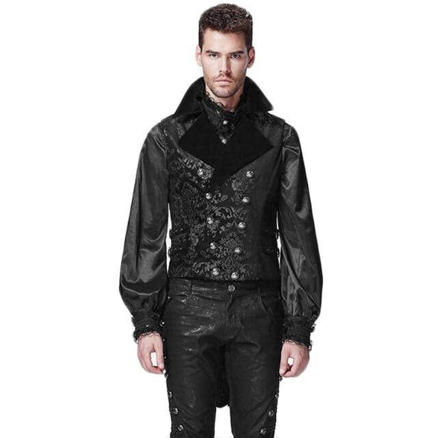 Goth Gothic Winter Mens Vest Jacket Black Homme Sleevelss Vest