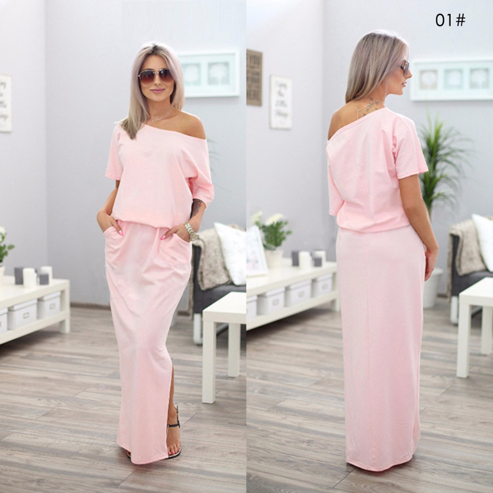 379fe09059b ... Long Dresses For Women Solid Slash Neck Short Sleeve Placement Split  Side Party Dresses Maxi Dress. -5%. Click to enlarge