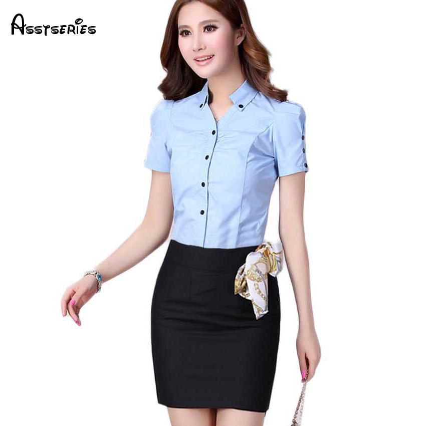 ᗐnew Fashion Solid Color Office Lady Trendy 2018 Short Sleeve
