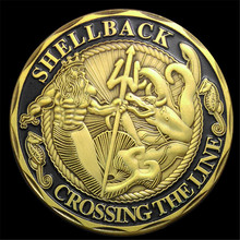 NEW The US Navy Shellback Crossing the Line Sailor Commemorative Challenge Coin Gift, Gold plated coins free shipping 15PCS/Lot