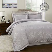 Yarn Dyed Bamboo Poly silk cotton Jacquard Bedding Set Silver