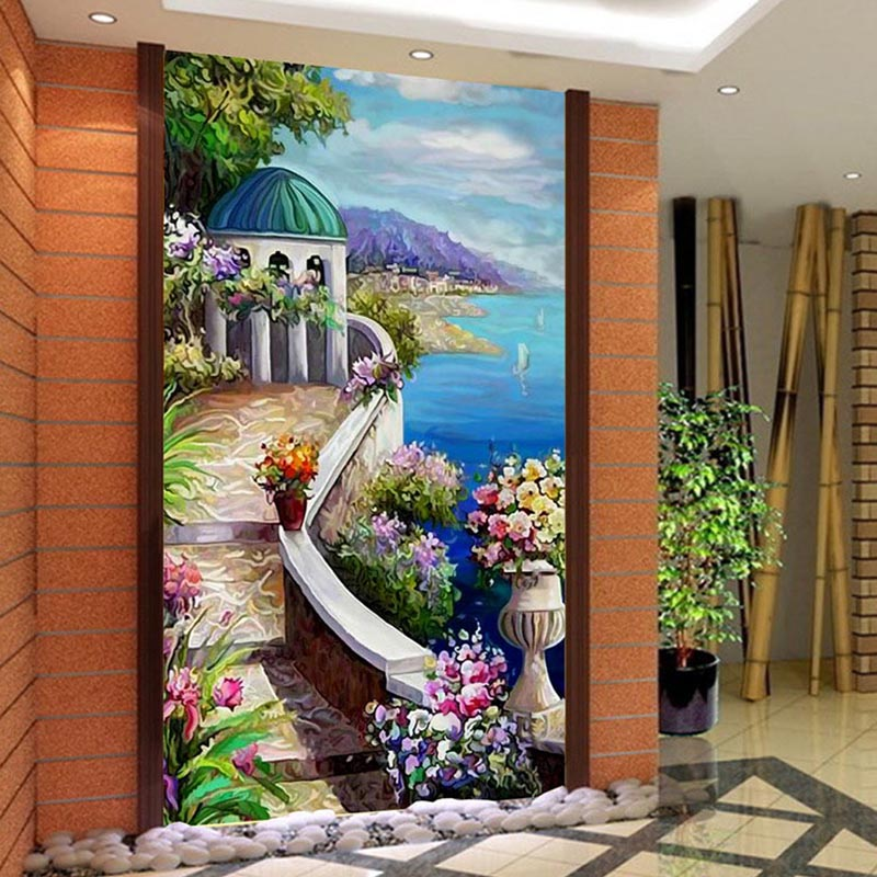 European Style Mediterranean Oil Painting Scenery 3D Mural Wallpaper Living Room Hotel Entrance Backdrop Wall Papers Home Decor free shipping 3d stereo entrance hallway custom wallpaper vertical version european oil painting wallpaper mural