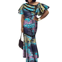 2019 summer Bazin Riche African Dresses for Woman Wax Print Splice short Sleeve Mermaid Dresses Dashiki African Clothes WY3524
