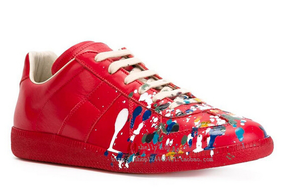 56ad39649eb7 Maison Martin Margiela red sneakers MMM men leather red paint low help  sneakers