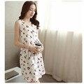 2017 venda quente do verão nova maternidade vestidos de algodão sem mangas dress tiras coreano saia colete e seções longas a008