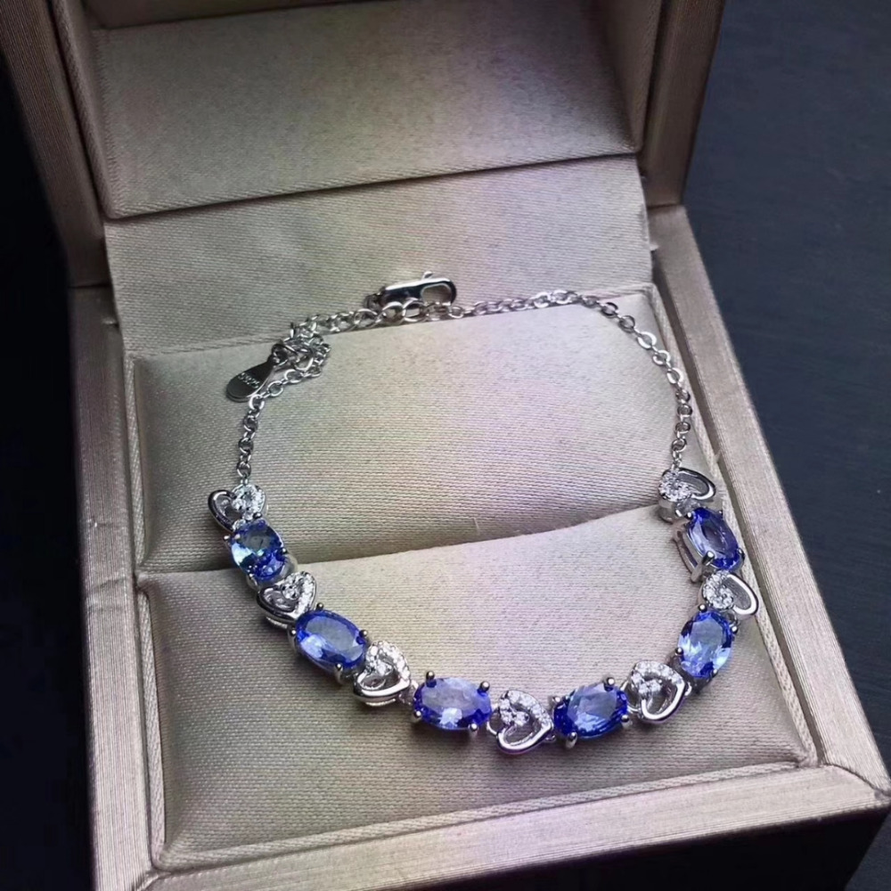 Natural blue <font><b>tanzanite</b></font> <font><b>Bracelet</b></font> Natural gemstone Heart Peach <font><b>Bracelet</b></font> 925 silver <font><b>bracelet</b></font> Fashion Elegant Female party jewelry image