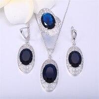 ZHE FAN Green Blue Glass Jewelry Set Women Pave AAA Zircon Earrings Ring Pendant Random Chain Party Valentine's Jewellery Sets