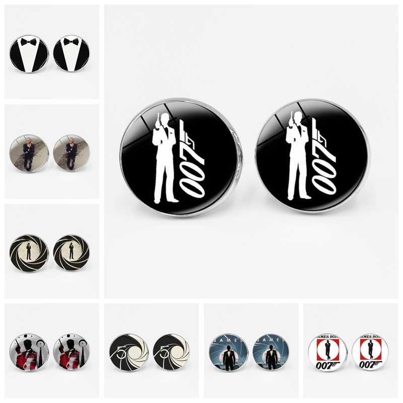 Creative New James Bond 007 Film Cufflinks Glass Convex Men's Gifts Men's Shirt Glass Dome Jewelry Men's Elegant Gifts