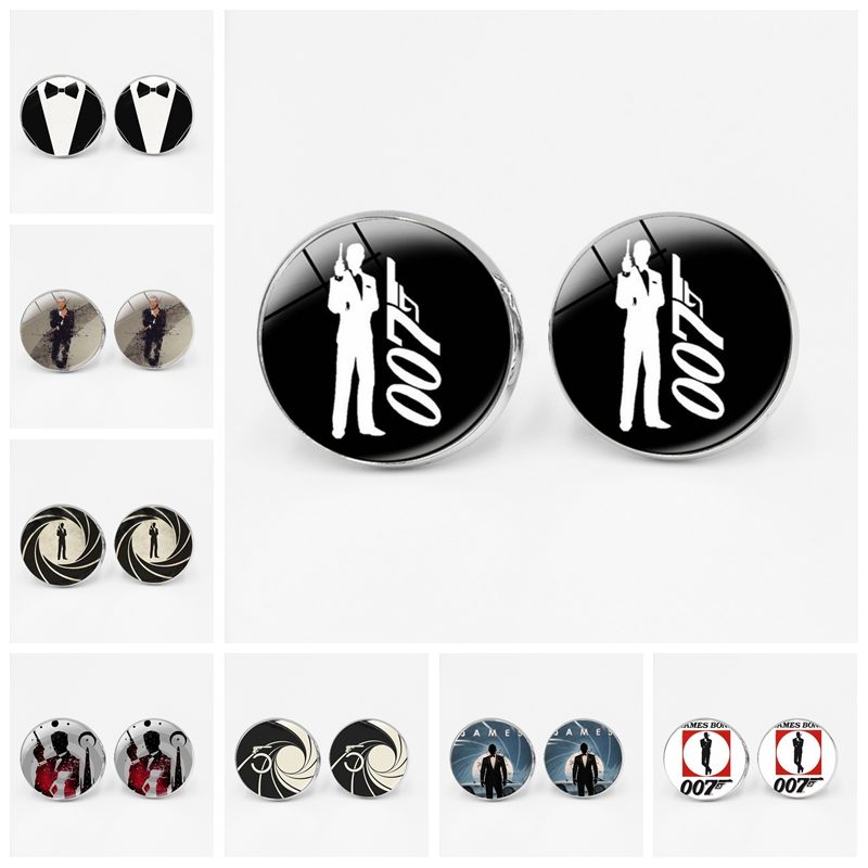 Creative New James Bond 007 Film Cufflinks Glass Convex Men's Gifts Men's Shirt Glass Dome Jewelry Men's Elegant Gifts image