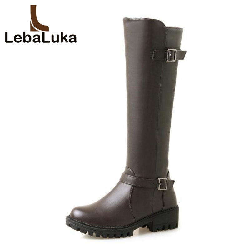 LebaLuka High Quality Women Flats Boots Buckle Zipper Round Toe Warm Shoes Women Knee Knight Boots Fashion Footwear Size 33-44LebaLuka High Quality Women Flats Boots Buckle Zipper Round Toe Warm Shoes Women Knee Knight Boots Fashion Footwear Size 33-44