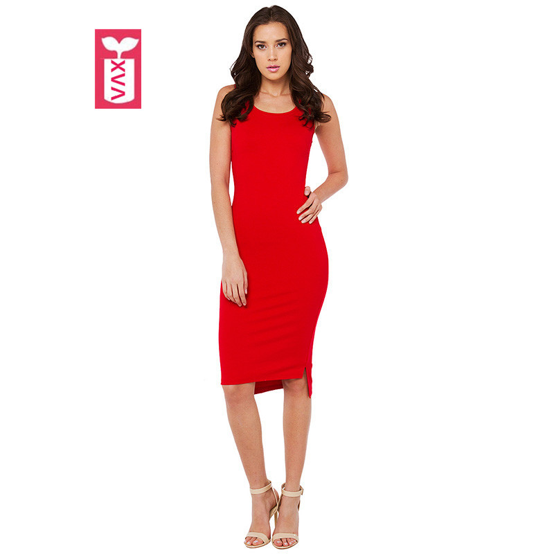 JUDYJUCY SUNNYOTOP Store Drop Ship Sweet Wedding 2017 Ladys Dovetail Sleeveless Slim Hip Side Split Dress Womens Red Mid-calf Banquet Dress Summer