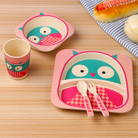 5pcs Set Baby Feeding Dishes Set Bowl Grid Plate Forks Kids Dinnerware Bamboo Fiber Food Container