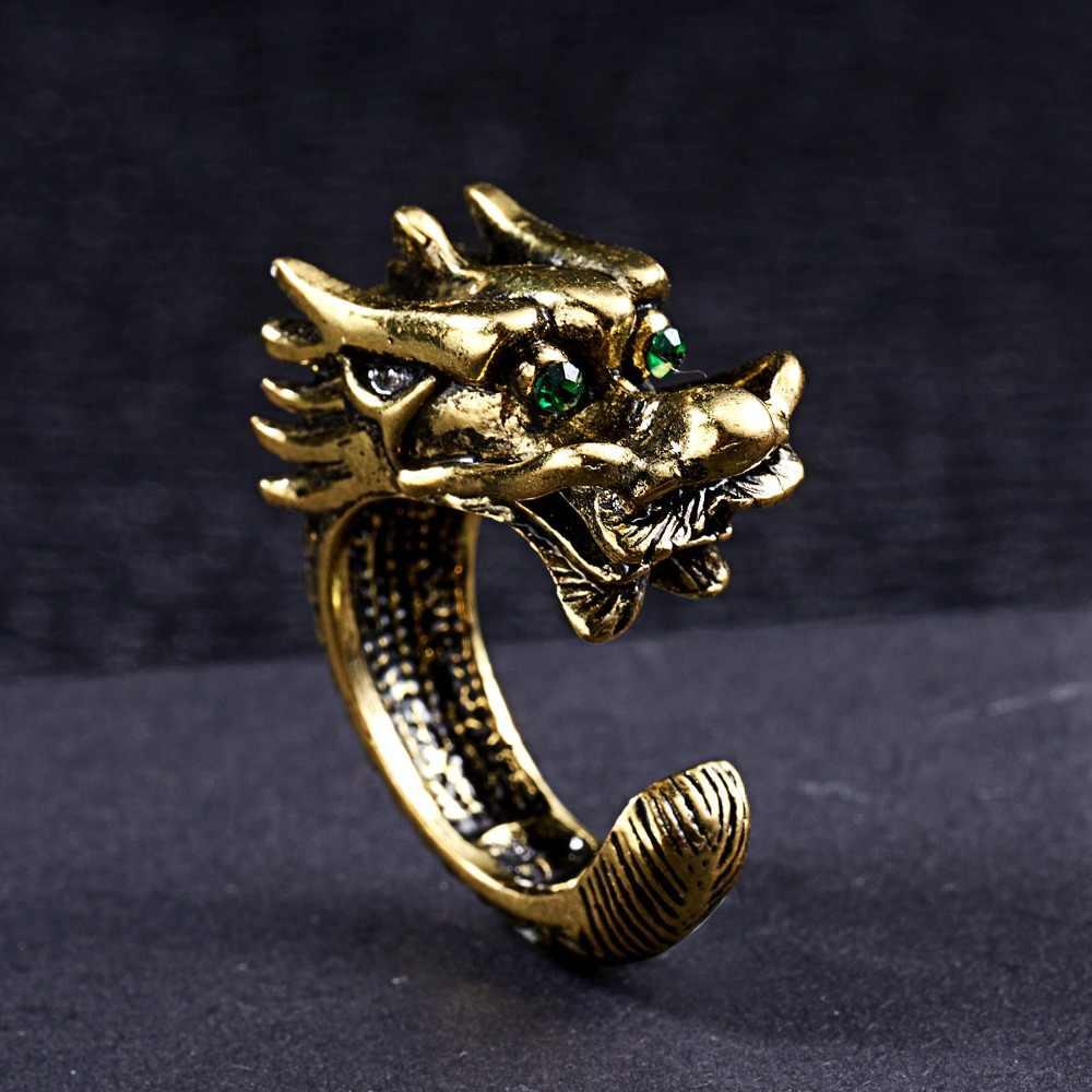 Rinhoo alliage de Zinc Vintage dominateur dragon Punk Hyperbole anneau ouvert accessoires de mode cadeau pour hommes