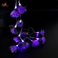 Purple Rose luces de Hadas 10 unids LED Violeta Flor Sala de Decoración Luz de La Secuencia para la Decoración de Año Nuevo Romántica Boda Rosado-el amor