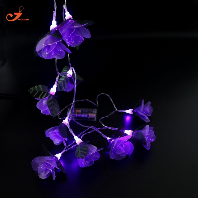 Paars Rose Kerstverlichting 10 Stks Led Violet Bloem Room Decor