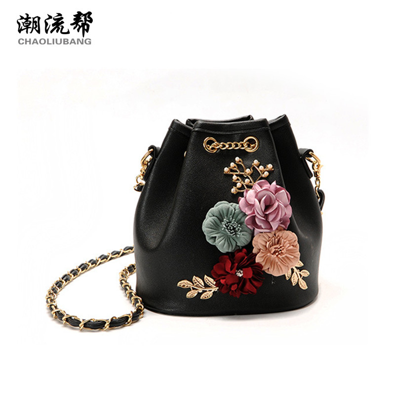 CHAOLIUBANG Novelty Women Leather Handbags Retro Floral Mini Crossbody Bags Bucket Chain ...