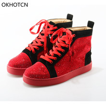 OKHOTCN Fashion Brand Design Shoes Mens Bling Red Glittler Leather Mens Shoes High Top Flats Casual Shoes Sneakers For Men