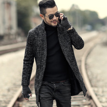Men autumn winter new black gray mixed color coarse cardigan men slim fashion cotton European style long coat brand design