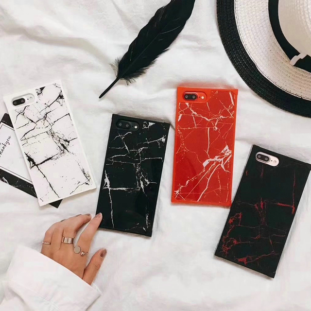 outlet store 1810e 9e415 US $9.2 |Square Marble Pattern Phone Case for iphone 6 6S 6plus TPU + PC  hard back cover for iphone 7 7plus 8 8plus-in Fitted Cases from Cellphones  & ...