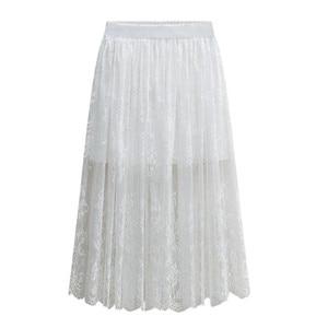Image 2 - Оптовая продажа, высокое качество, новинка 2020, Женская кружевная юбка, ажурная белая черная Весенняя юбка, юбки большого размера