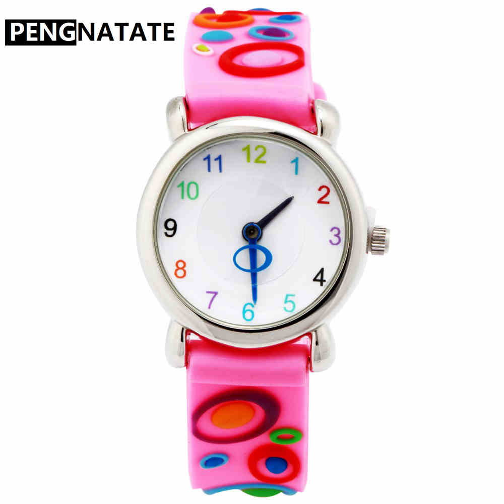 PENGNATATE Fashion Watches For Kids Lovely Pink Waterproof Strap Children Watch Girls 3D Cartoon Silicone Bracelet Wristwatch pengnatate children 3d cartoon watch fashion blue train waterproof strap kids silicone watches students boys bracelet wristwatch