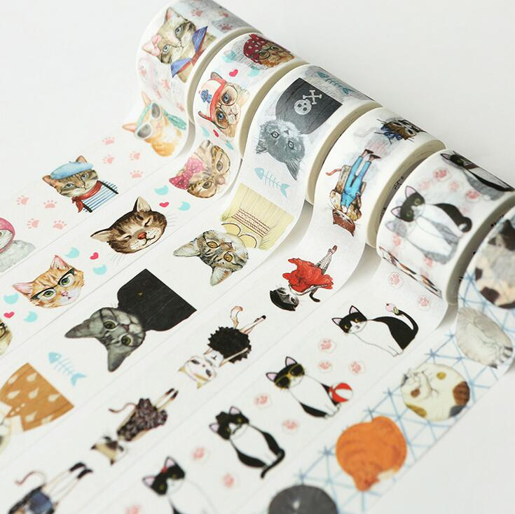 Cute Cat Style Fashion Time Washi Tape Adhesive Tape DIY Scrapbooking Sticker Label Masking Tape shading color washi tape adhesive tape diy scrapbooking sticker label masking tape