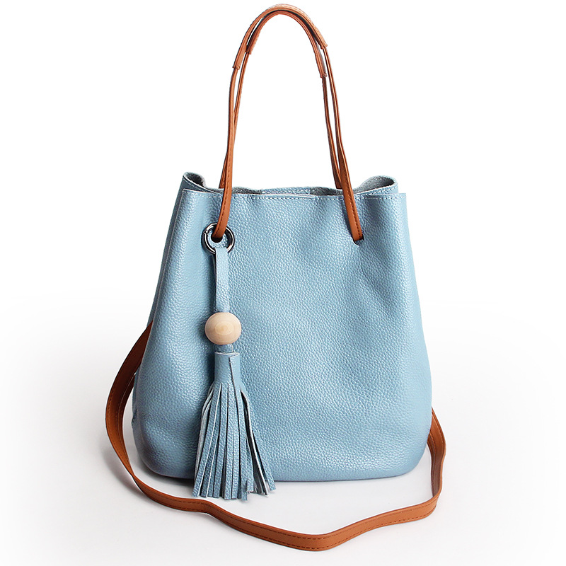 New Tassel Bucket Bag Genuine Cow Leather Pulling Rope Zipper Hasp Large Handbag Women Shoulder Bag Female Fashion Shopping Bag