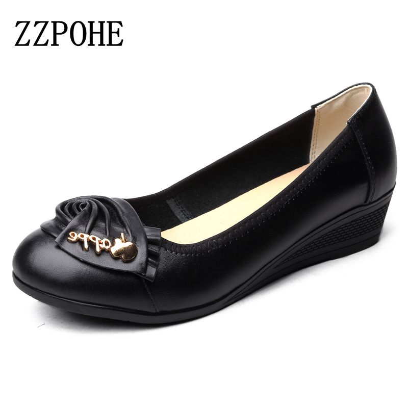 ZZPOHE Spring autumn mother single shoes Women leather soft bottom Fashion ladies shoes Plus Size Comfortable Female work shoes aiyuqi big size 41 42 43 women s comfortable shoes 2018 new spring leather shoes dress professional work mother shoes women page 4