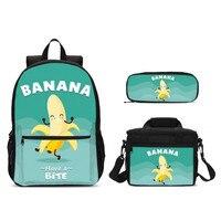 3Pcs/Set Portfolio School Bags For Boys Girls Cartoon Banana Letter 3D Printing Backpacks Kids Bookbag Rugzak Mochila Escolar