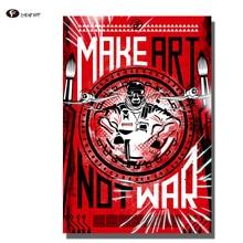 цена CHENFART Vintage Posters Canvas Print Make Art not War Decorative Wall Art Pictures Oil Painting for Living Room no Frame Home онлайн в 2017 году