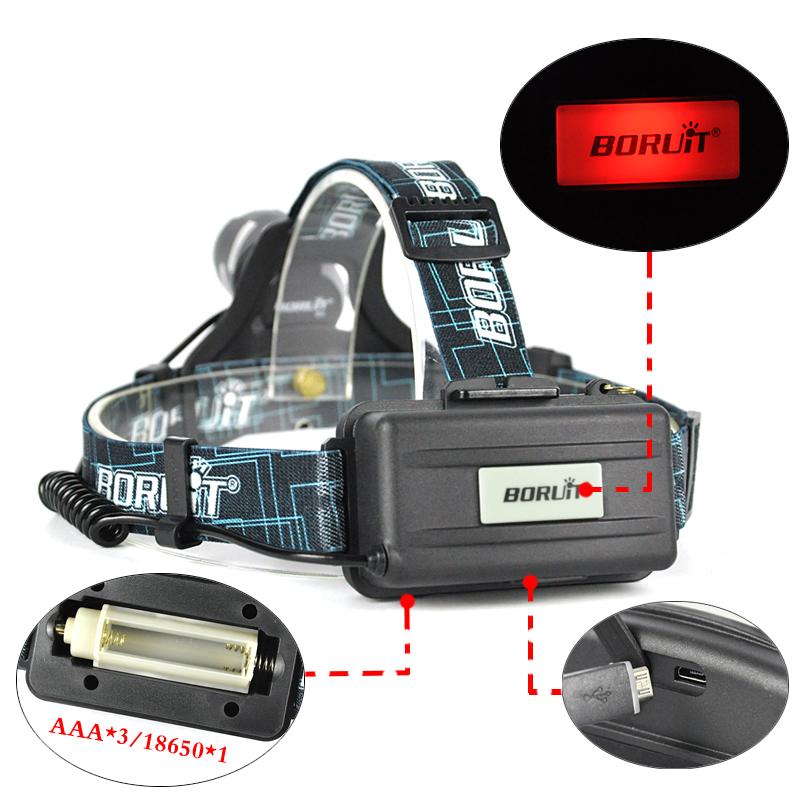 Boruit led light Rechargeable headlight High power head lamp Flashlight Headlamp 1000 Lumens Headlamps power by 3x AAA batteries (3)