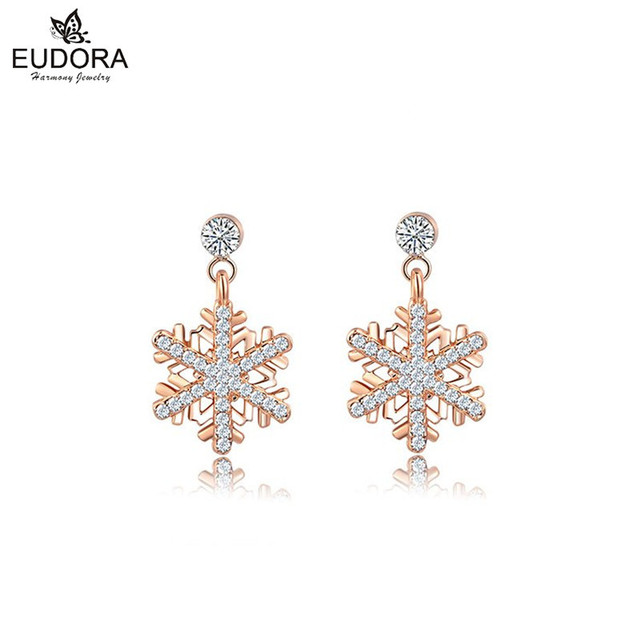 Small Fresh Metal Crystal Aestheticism Snowflake Earrings For Women Rose Gold Color Dangle Earring Fashion