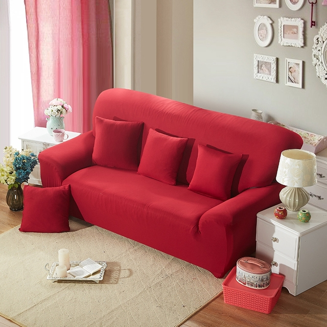 Red Solid Color Universal Sofa Cover Polyester Couch Sectional Slipcover Prevent