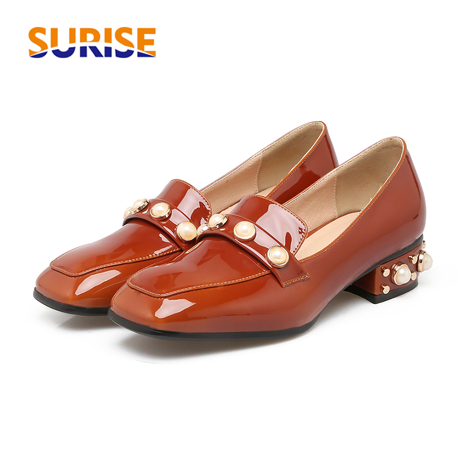 d7c2dab710f0d Big Size Casual Women Flats Low Block Heels Loafer Patent Leather Faux  Pearl Rivet Stud Spring Autumn Office Party Lady Mocassin
