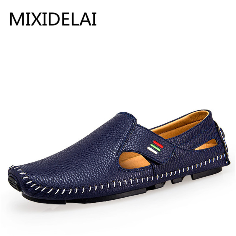 New Fashion Moccasins For Men Loafers Summer Walking Breathable Casual Shoes Men Hook&loop Driving Boats Men Shoes Flats branded men s penny loafes casual men s full grain leather emboss crocodile boat shoes slip on breathable moccasin driving shoes