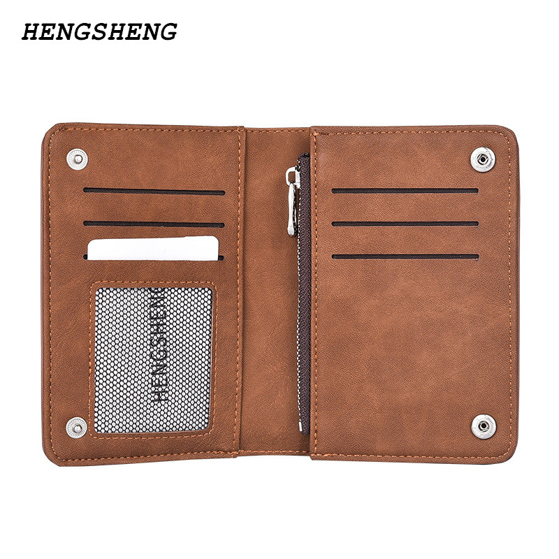 New Brand HENGSHENG Men's Wallet Vintage Nubuck Leather Card Purse With Zipper Coin Pocket Fashion Clutch Purse