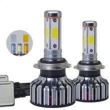 1 pair 4 Sides COB H7 Led Bulb Lamp Headlights Car Light 100W 12000LM Canbus 3000K 6000K 12V Automobiles Headlight