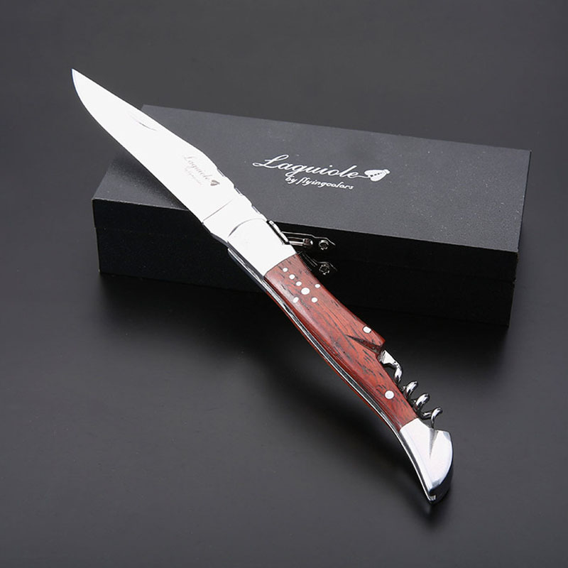 High Quality Wood Handle Professional Wine Opener Folding Steak Knife Portable Stainless Corkscrew Wine Knife w/Box Special gift