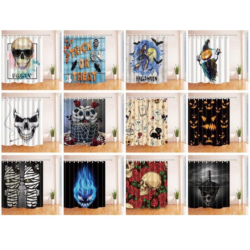 Halloween Series Shower Curtain 3D Digital Printing Thick Polyester Bathroom Opaque Curtain Home Decor