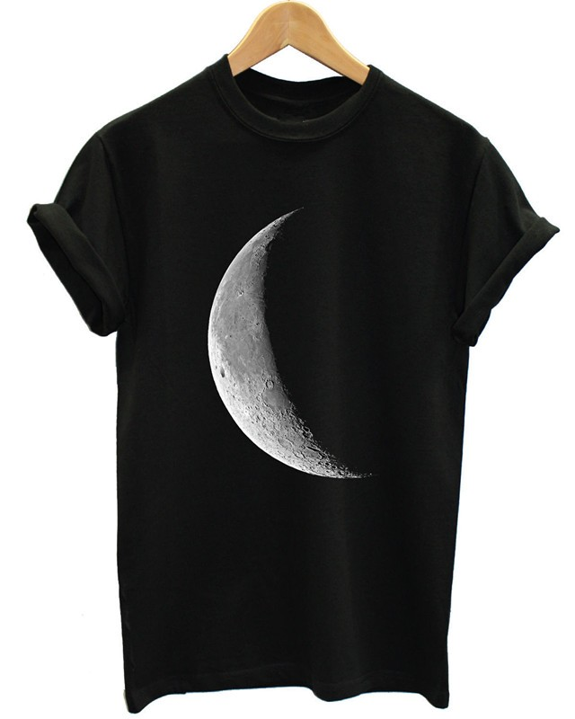 HALF MOON T SHIRT FULL GALAXY SPACE EMO TUMBLR INDIE HIPSTER WOMEN TOP MEN GIRL