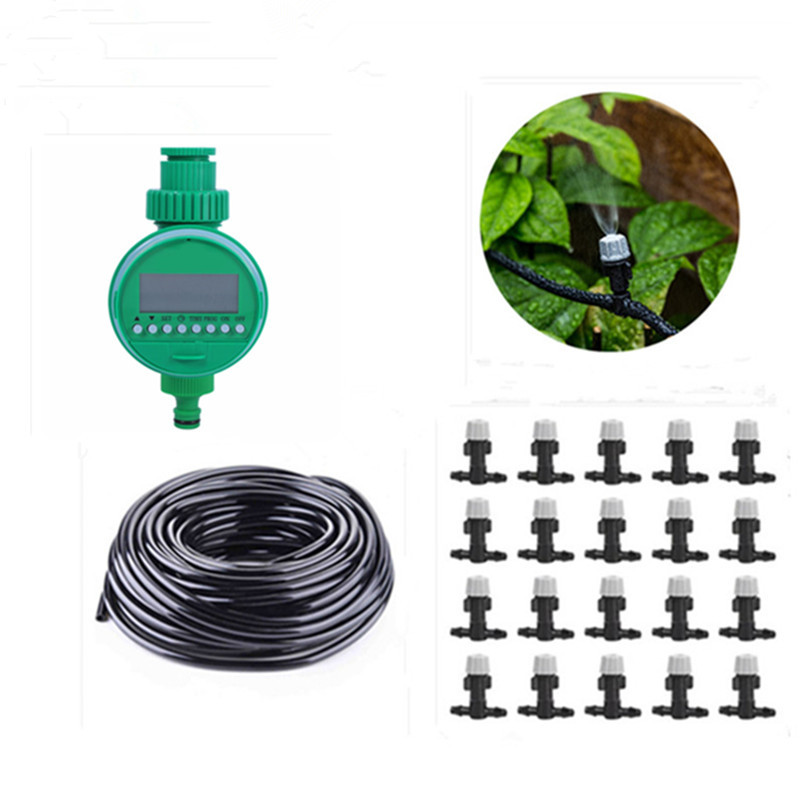 10/15/25m Misting Sprinkler Set With Water Timer Garden Drip Irrigation System Plant Automatic Dripper Gardening Watering BJ0610/15/25m Misting Sprinkler Set With Water Timer Garden Drip Irrigation System Plant Automatic Dripper Gardening Watering BJ06