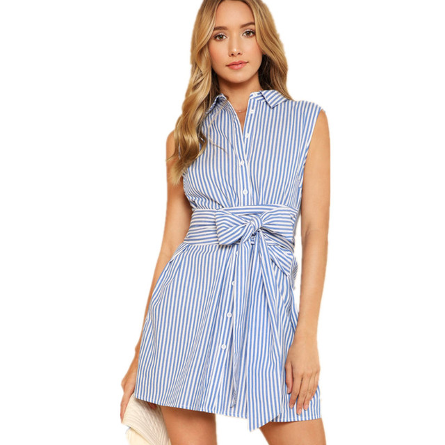 bd81680061fcf Women Belt Summer Sundress Button Sleeveless Short Beach Dress Blue White  Vertical Striped 2018 Office Work Wear Dress Vestidos