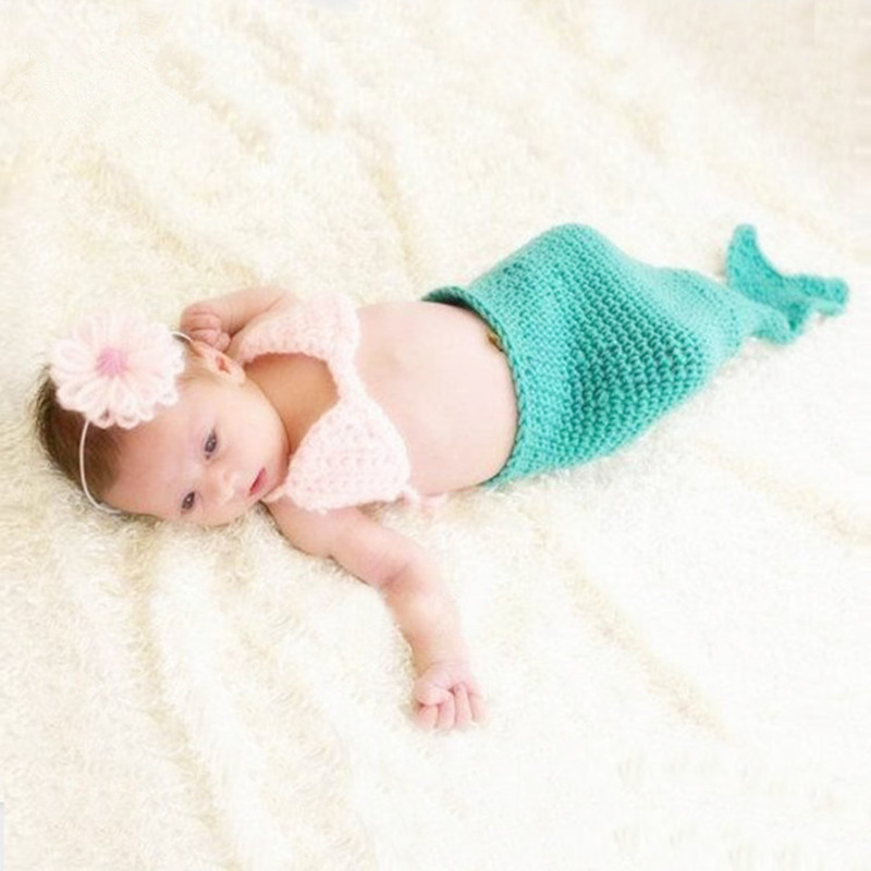 Baby Photography Props Infant Mermaid Costume Baby Outfits Newborn Photo Props Baby Crochet Prop Photography Babies Accessories