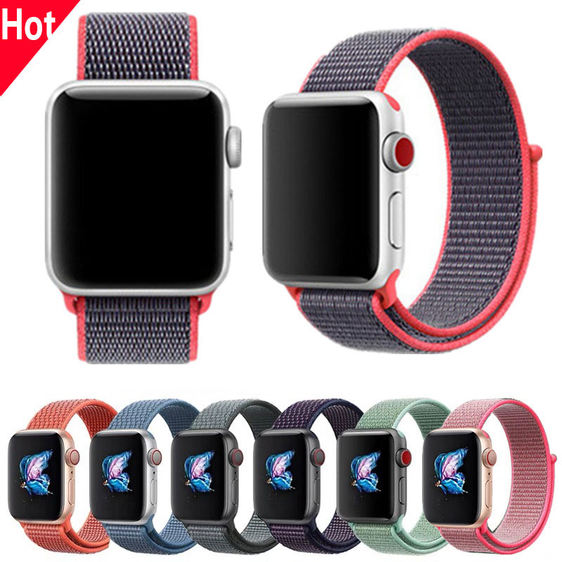 Nylon Sport Loop Replacment Band Series 2 3 4 Lightweight Soft Breathable Woven Strap 38mm 42mm 40mm 44mm For Apple Watch