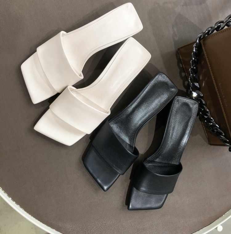 MLJUESE/женские шлепанцы из мягкой коровьей кожи бежевого цвета, летние сандалии в римском стиле с открытым носком, вечерние сандалии на низком каблуке, размер 34-40, 2019