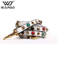 W D POLO 2016 Fashion Color Stud Handbag Strap Lady Shoulder Bag Stone Bijoux Strap High